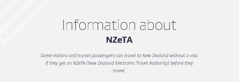 NZeTA Visa (NZ Electronic Travel Authorisation) Comes into affect from 1st October 2019